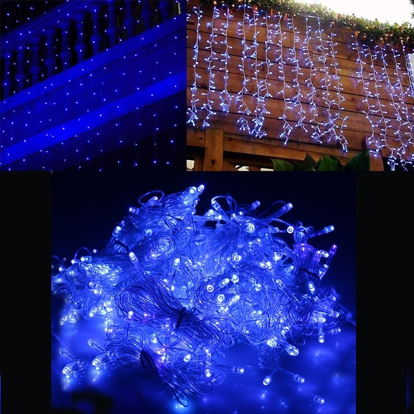 Image 300LED Curtain Lights String Light for Christmas Party Decoration Blue 3Mx3M