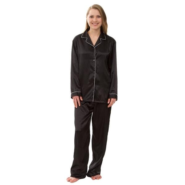 Leisureland Women's Silky Satin Pajama Set. Opens flyout.