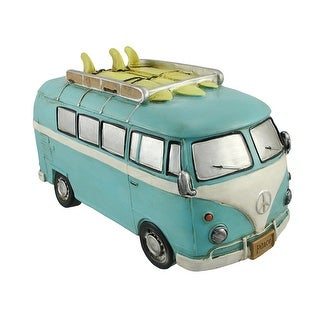 Blue Retro Surfer Van With Peace Signs Coin Bank