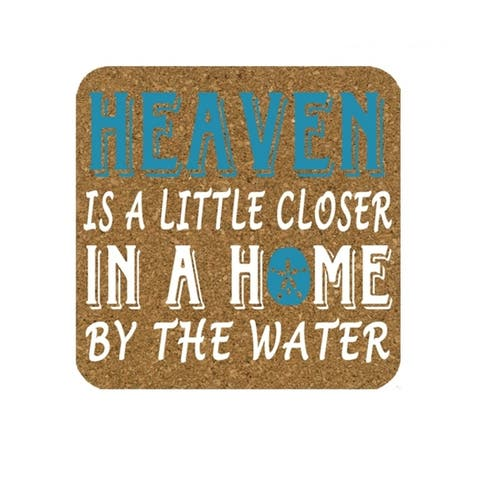 Heaven is a Little Closer by Coast Sand Dollar Cork Drink Coasters Set of 4