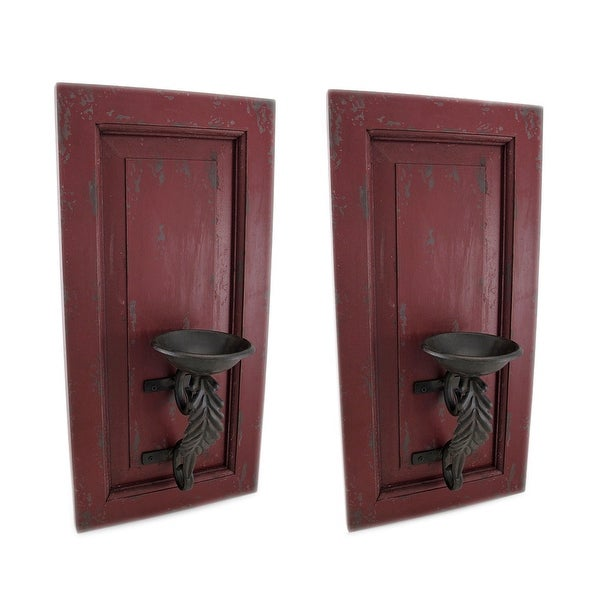 Distressed Red Wood And Metal Wall Sconce Set Of 2 Hanging Candle Holders