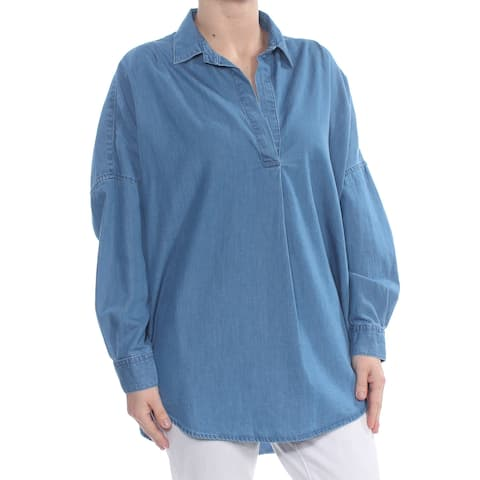 FRENCH CONNECTION Womens Blue Cuffed V Neck Tunic Top Size: S
