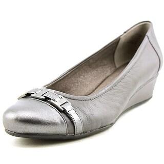 Easy Spirit Delana Open Toe Leather Wedge Heel