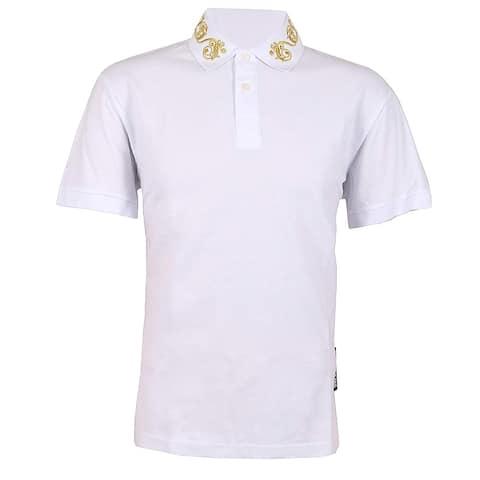 Versace Jeans Couture Mens White Gold Collar Logo Pique Polo TShirt