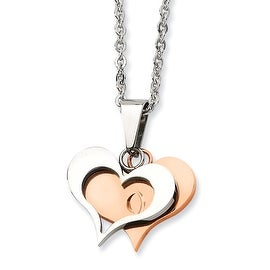 Chisel Stainless Steel Polished & Rose Gold Heart Pendant 22 Inch Necklace (2 mm) - 22 in