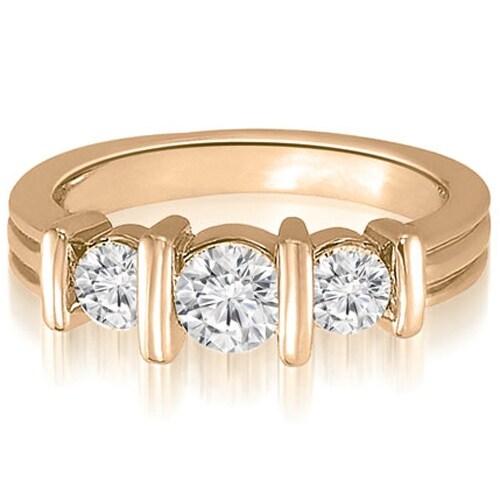 0.85 cttw. 14K Rose Gold Three-Stone Bar Set Round Diamond Engagement Ring