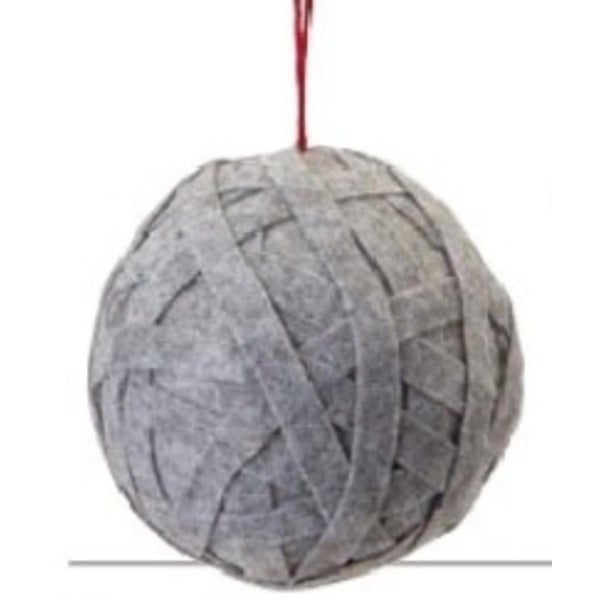 "5"" Smoke Gray Grandma's Knitted Christmas Ball Ornament"