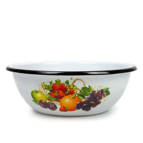 STP-Goods 1.6-Quart Black Rim Fruits Enamel on Steel Bowl