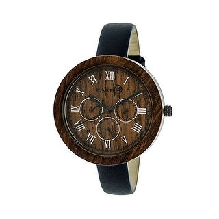 Earth Wood Brush Women's Quartz Watch, Genuine Leather Band