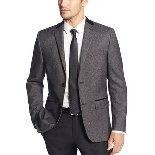 Alfani Red Label Slim Fit Black and Grey Neat Velvet Trim Evening Jacket