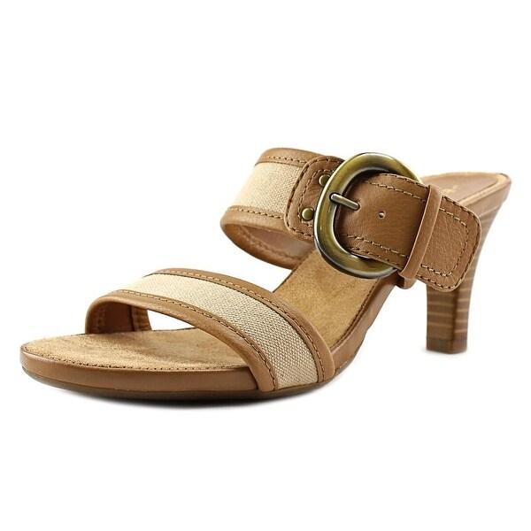 Aerosoles Trot Around Women  Open Toe Leather Tan Slides Sandal