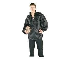 Black Satin Pirate Shirt Adult Halloween Costume
