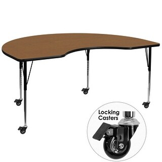 """Delacora FF-XU-A4896-KIDNY-T-A-CAS-GG  48"""" Wide Steel Framed Wood Top Adjustable Activity Table with Locking Casters"""