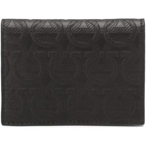 Salvatore Ferragamo Mens Black embossed Gancini Logo Bifold Card Case Wallet
