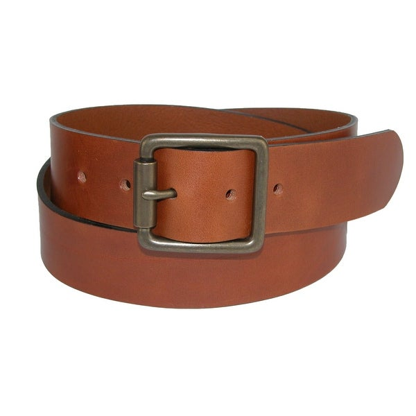 The British Belt Company Men's Ravens Italian Leather Center Bar Belt