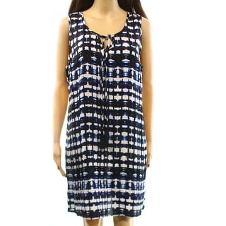 Cynthia Rowley NEW Blue Printed Linen Dress Women's Size 12 Sheath