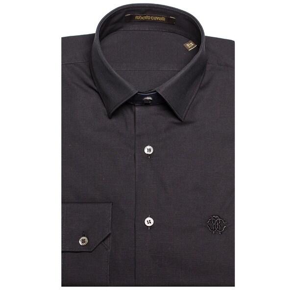1b4fc5852b Shop Roberto Cavalli Men s Point Collar Cotton Dress Shirt Black - Free  Shipping Today - Overstock - 19398912
