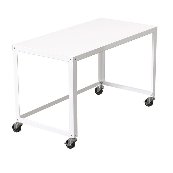 Porch & Den Rockridge White 48-inch Mobile Desk Rolling Cart. Opens flyout.