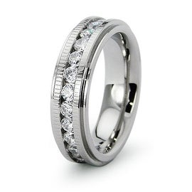 Channel Set CZ and Grooved Edge Stainless Steel Ring