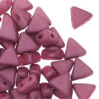 Czech Glass Kheops par Puca, 2-Hole Triangle Beads 6mm, 9 Grams, Matte Opaque Amethyst Silk