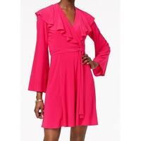 Taylor Womens Ruffle Tie-Waist Jersey Knit Wrap Dress