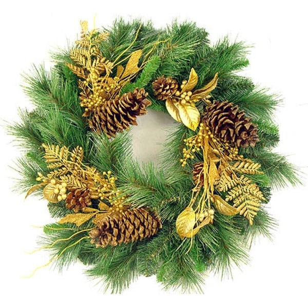 "24"" Gold Glittered Mixed Pine Artificial Christmas Wreath - green"