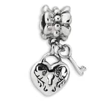 Sterling Silver Reflections Heart & Key Dangle Bead (4mm Diameter Hole)