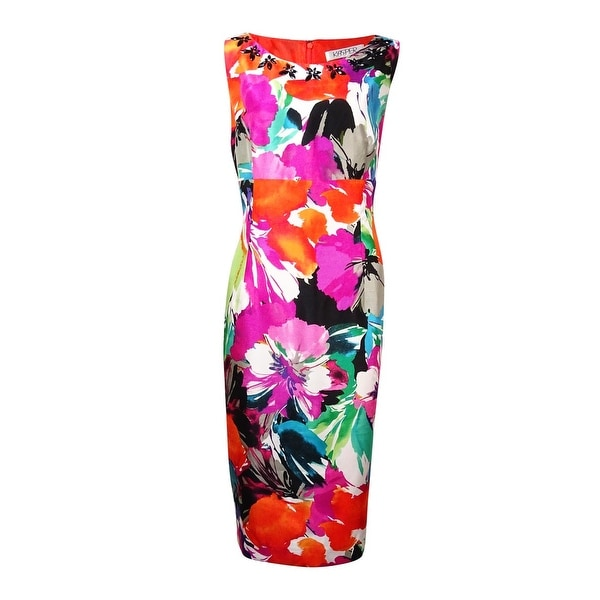 5e63fe9324 Shop Kasper Women's Sleeveless Floral Printed Dress - tiger lily multi - 6  - Free Shipping On Orders Over $45 - Overstock - 15013969