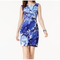Connected Apparel Blue Womens Size 14 Floral Print Sheath Dress
