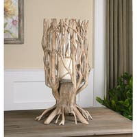 "23"" Curvy Natural Wood in a Light Gray Glaze Decorative Candle Holder - Brown"