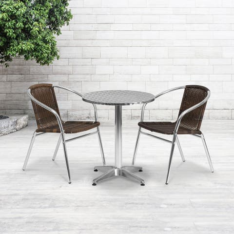 "23.5'' Round Aluminum Indoor-Outdoor Table Set with 2 Rattan Chairs - 23.5""W x 23.5""D x 27.5""H"