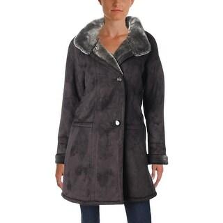 Gallery Womens Petites Midi Coat Winter Faux Suede - pm