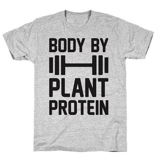 Body By Plant Protein Athletic Gray Men's Cotton Tee by LookHUMAN