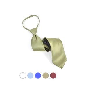 Men's Silk Solid Color Pre-tied Zipper Neck Tie - One size (Option: olive)