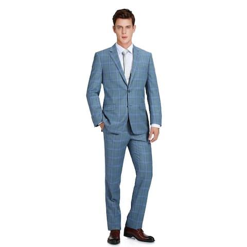 Men's Two Piece Classic Fit Windowpane Check Dress Suit