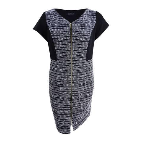 Ellen Tracy Women's Plus Size Striped Tweed Dress - Black/White