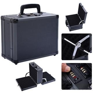 Costway Double Locking Handgun Box Gun Case Pistol Hard Carry Foam Storage w/ Code Set