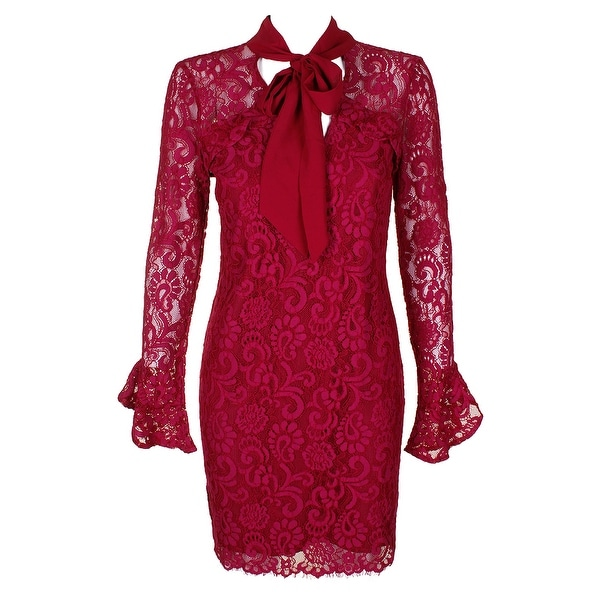 abee2af76ae30 Shop Adelyn Rae Claret Red Bell Long-Sleeve Tie Neck Lace Sheath ...