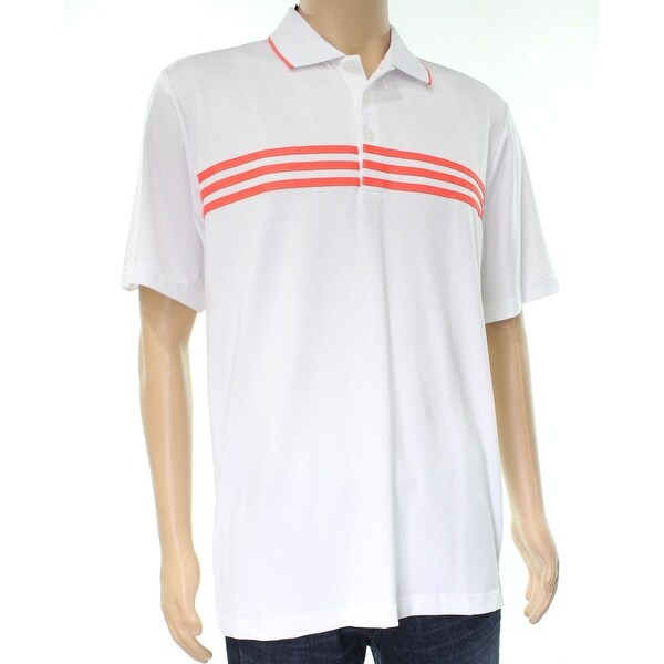 Adidas New White Orange Striped Mens Size Medium M Polo Rugby Shirt