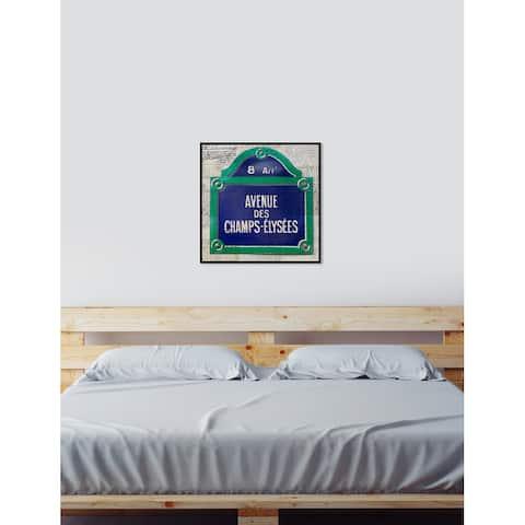 Oliver Gal 'Parisian Avenue' Cities Framed Art Print on Premium Canvas - Blue