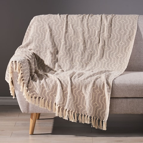 Freda Boho Handcrafted Cotton Throw Blanket by Christopher Knight Home