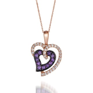 "Link to Encore by Le Vian Amethyst & White Sapphire 14K Rose Gold Pendant 18"" Similar Items in Necklaces"