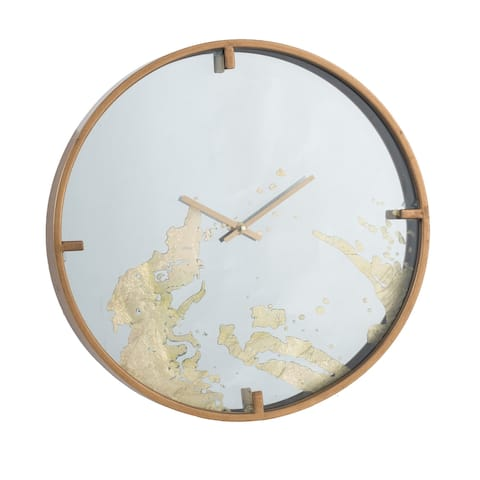 A&B Home Polished Brass 15-inch Mirror Face Wall Clock