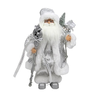 """12"""" Elegant Standing Santa Claus Figure in Silver and White with Staff"""