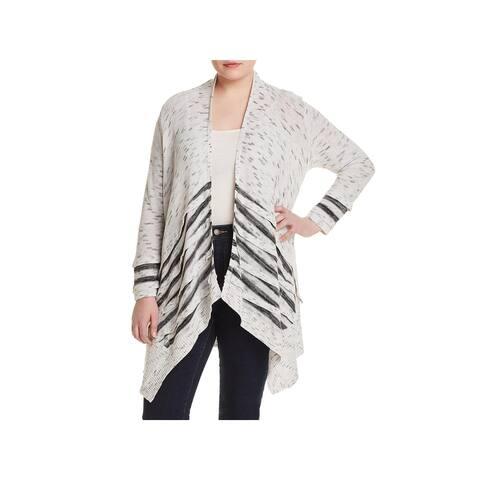 Nic + Zoe Womens Plus Dash Cardigan Sweater Knit Marled