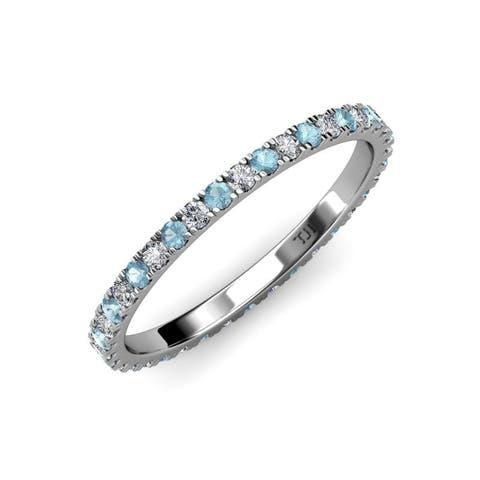 TriJewels Aquamarine Diamond 3/4 ctw Womens Eternity Ring 14K Gold