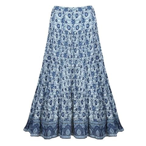 Catalog Classics Women's Batik Peasant Skirt - Printed Broomstick Maxi in Blues