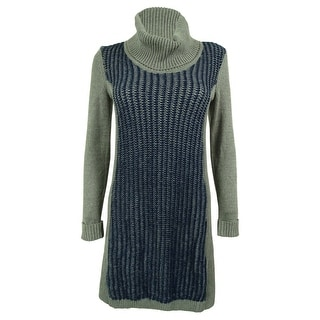 Style & Co. Women's Ribbed Colorblock Turtleneck Sweater Dress