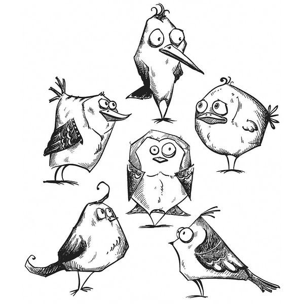 """Tim Holtz Cling Stamps 7""""X8.5""""-Bird Crazy"""