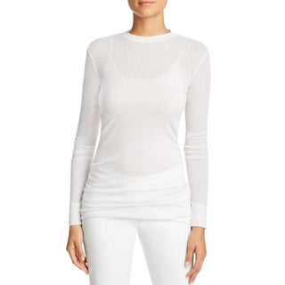 DKNY Womens Petites Pullover Top Ribbed Long Sleeves (Option: S - Chalk)